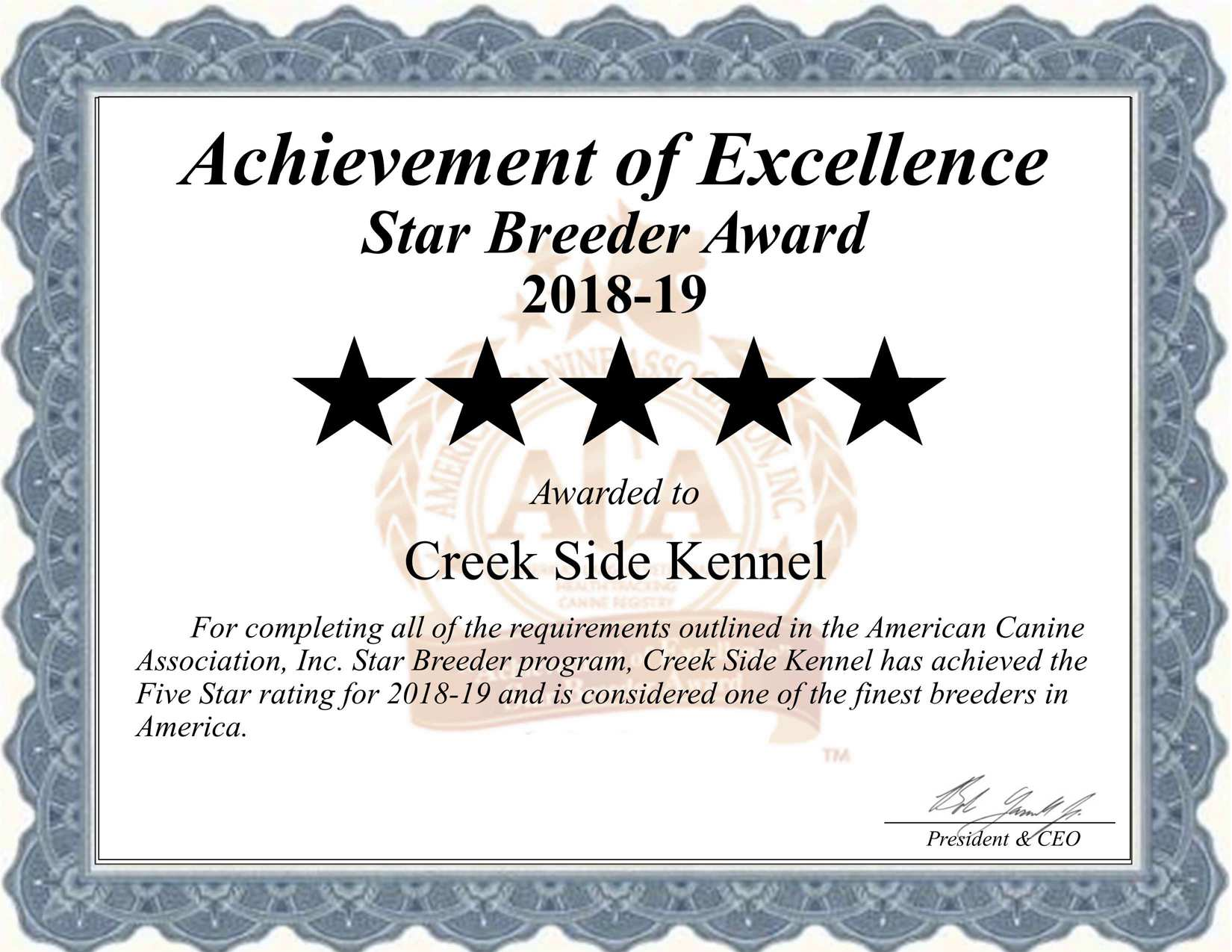 creek, side, kennel, certificate, creek-sidenel, creekside, dog, breeder, oberlin, kanas, ks, pup, pups, puppies, USDA, Licensed, Inspected, license, number, kennel, puppies, litter, agriculture, department, dept, dogs, star, breeders, USA, loving, American, Canine, Association, Program, Dog, ACA, breeding, litter, application, registration, requirements, records, shows, education, puppymill, breeder, mill